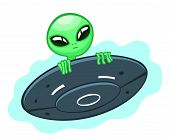stock photo of flying saucer  - Cartoon alien looks out of a flying saucer - JPG
