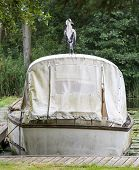 picture of pontoon boat  - Heron perched on an old boat moored up against a pontoon - JPG