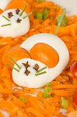 image of field mouse  - Funny carrot salad with boiled eggs resembling mice kid food  - JPG