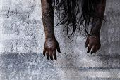 stock photo of murders  - The scary Zombie Girl In Haunted House - JPG