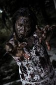 stock photo of scary haunted  - The scary Zombie Girl In Haunted House