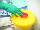 picture of hazardous  - Container for hazardous waste in the hospital ward - JPG