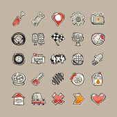 stock photo of home addition  - Doodle Cars Icons Set - JPG