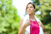 stock photo of spandex  - Active woman doing fitness at the park - JPG