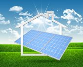 image of solar battery  - Solar battery and symbol of house - JPG