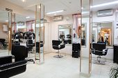 stock photo of beauty salon interior  - brand new interior of european beauty salon - JPG
