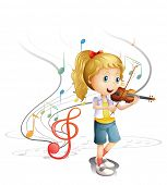 foto of woman g-string  - Illustration of a young musician on a white background - JPG