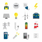 pic of accumulative  - Set of electricity energy accumulator icons in flat style vector illustration - JPG