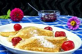 pic of home-made bread  - Home made pancakes on a white plate  - JPG