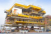 image of petroleum  - Platform petroleum fabrication and erection work in onshore yard - JPG