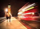 picture of big-ben  - Westminster Bridge in London at night with Big Ben and bus - JPG