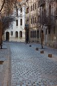stock photo of tree lined street  - Historic buildings lining the cobbled streets of Barrio Londres in Santiago - JPG