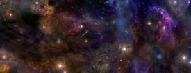 image of outer  - Wide panel of outer space with many different stars - JPG