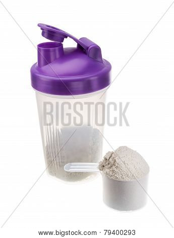 Shaker With Protein For Athletes. Muscle Growth.