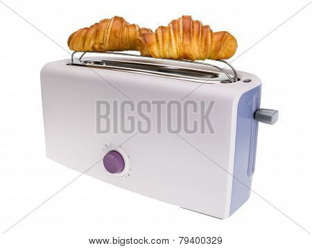 Toaster Prepares Croissants. Isolated On White Background.