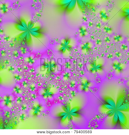 Green Yellow And Pink Abstract Flowers