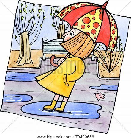 Little Girl With An Umbrella