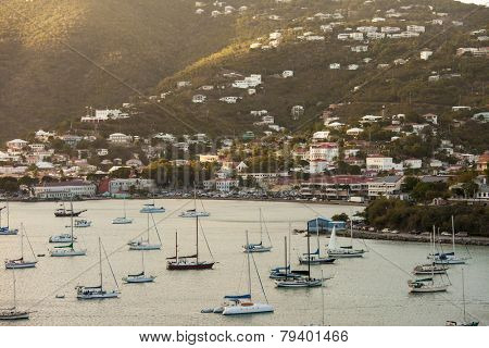 View of Charlotte Amalie and harbor with moored boats in Virgin islands