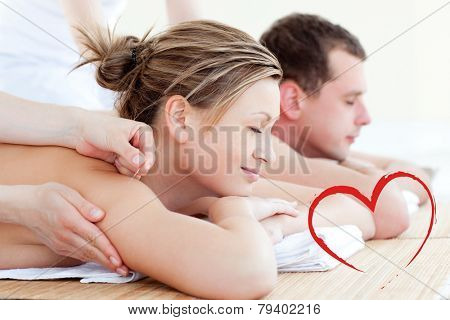 Loving couple having an acupunctre therapy against heart