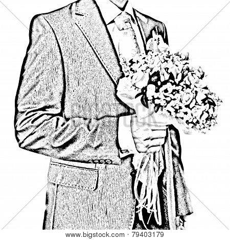 Illustration of bridegroom with flowers