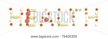 Tablets Inlaid Floor: Health On A White Background