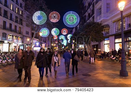 Tourists Walking On Calle De La Montera