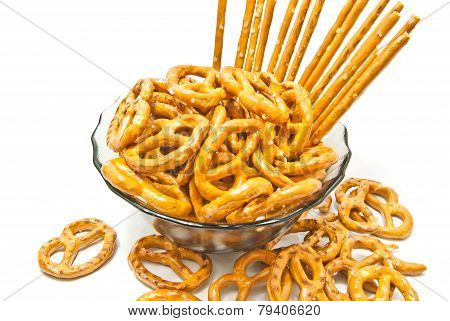 Tasty Breadsticks And Salted Pretzels