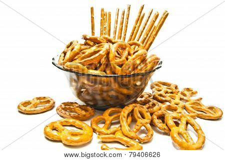 Pretzels And Breadsticks On A Plate