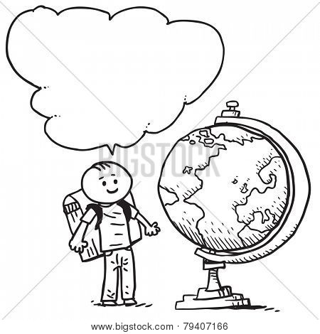 Schoolkid with globe speaking