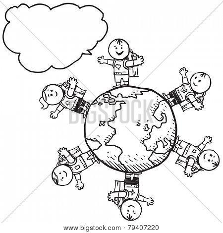 Happy schoolkids around planet speaking