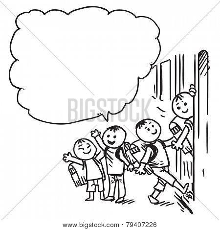 Schoolkids speaking and entering school bus