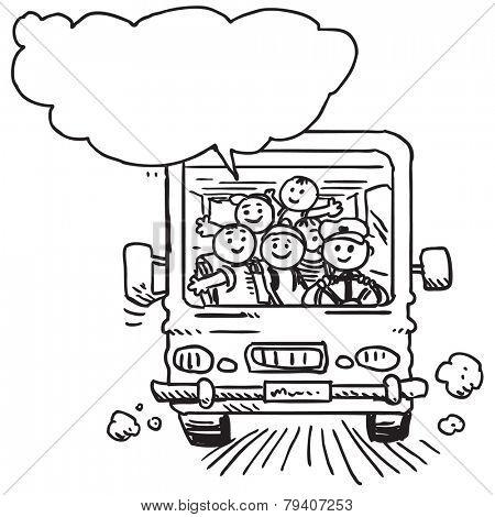 Schoolkids in school bus speaking