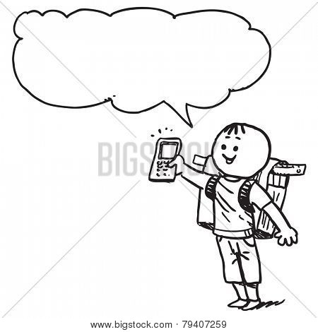 Schoolkid showing cell phone