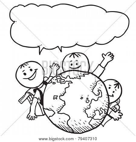 Happy schoolkids behind planet Earth speaking