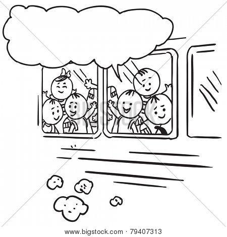 Schoolkids in school bus speaking something
