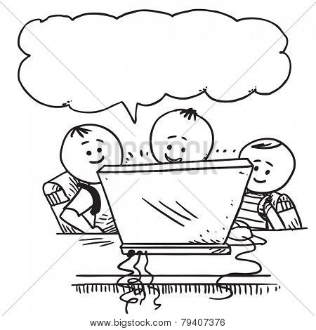 Happy schoolkids with computer speaking
