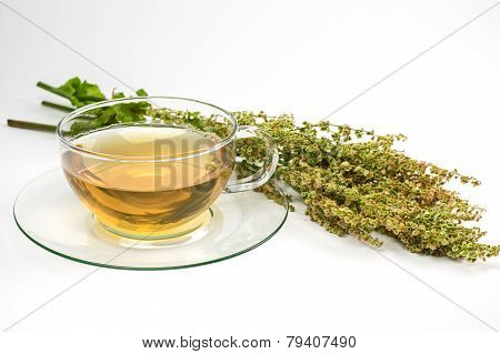 Glass cup with sorrel tea