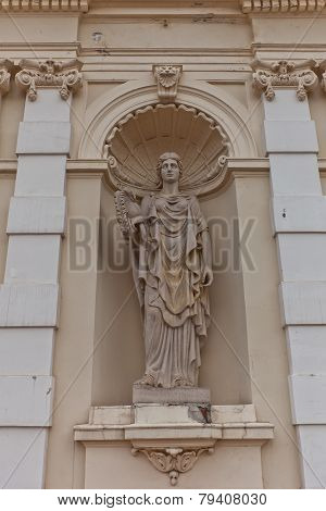Sculpture Of Athena On Main Gate Of Warsaw University, Poland