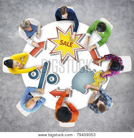 Aerial View Business People Saving Commercial Sales Concepts