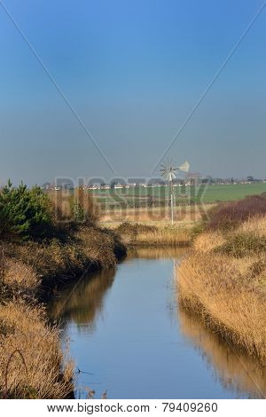 Small stream in countryside in fall