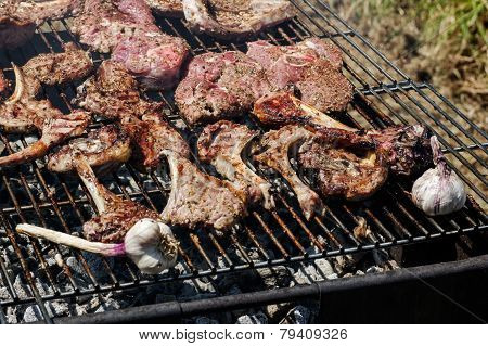 Barbecue with lamb