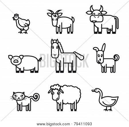 farm animals icons