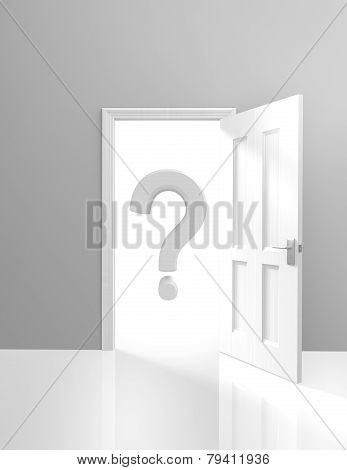 Open door with a large question mark behind it representing the unknown