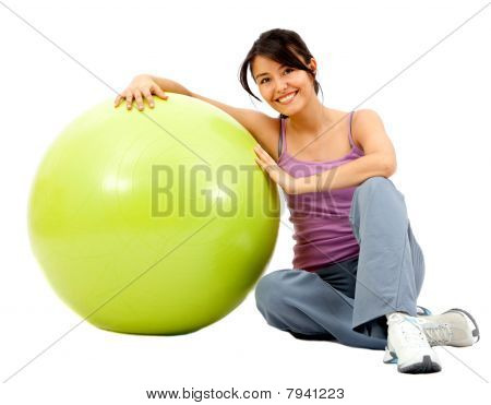 Woman With A Pilates Ball