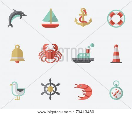 Marine icons, flat design