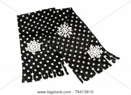 Black scarf with white dots nicely arranged.