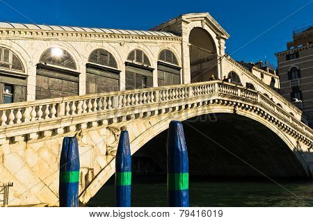 Rialto bridge at Grand canal in Venice at sunny morning