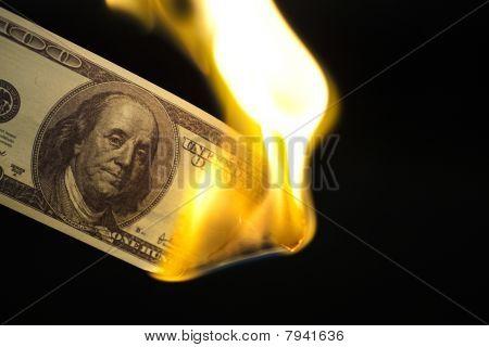 Image Of 100 Bill Burning