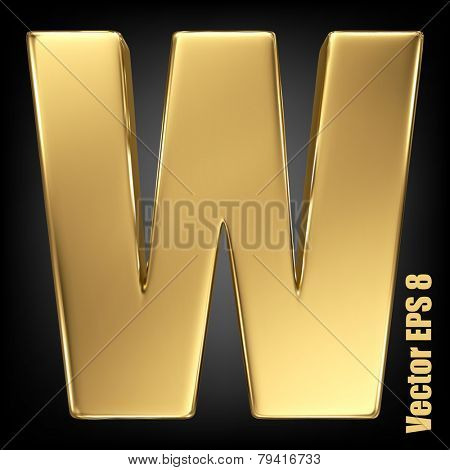 Vector letter W from gold solid alphabet. Uppercase golden font collection. EPS 8