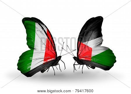 Two Butterflies With Flags On Wings As Symbol Of Relations Italy And Palestine